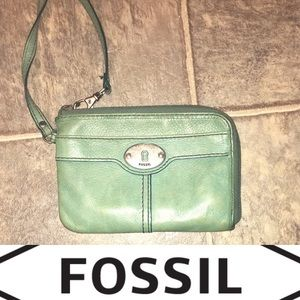 Fossil leather wristlet